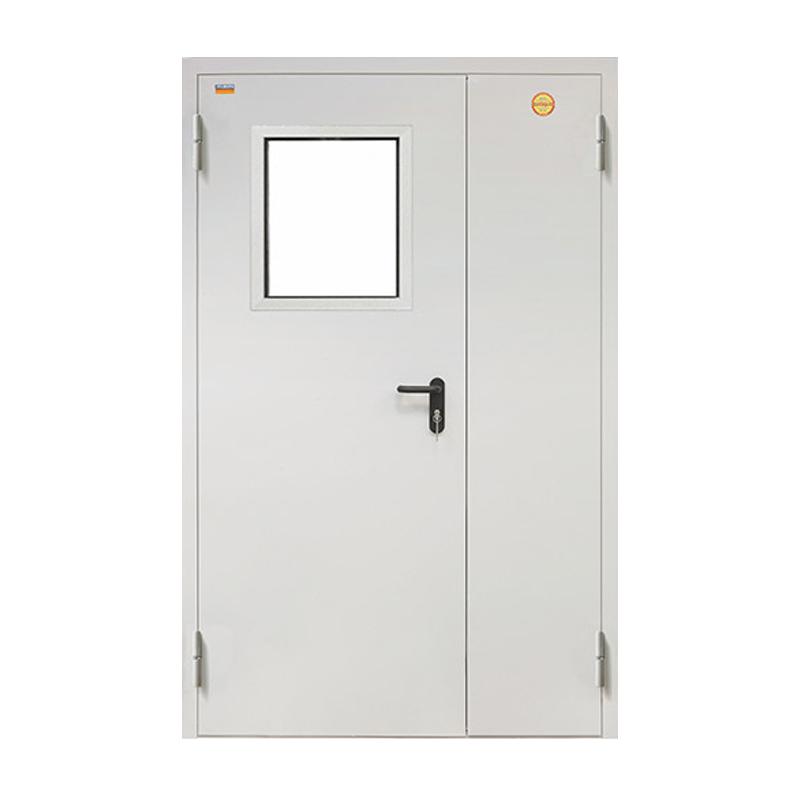 Противопожарная дверь двойная со стеклом ДПC-2