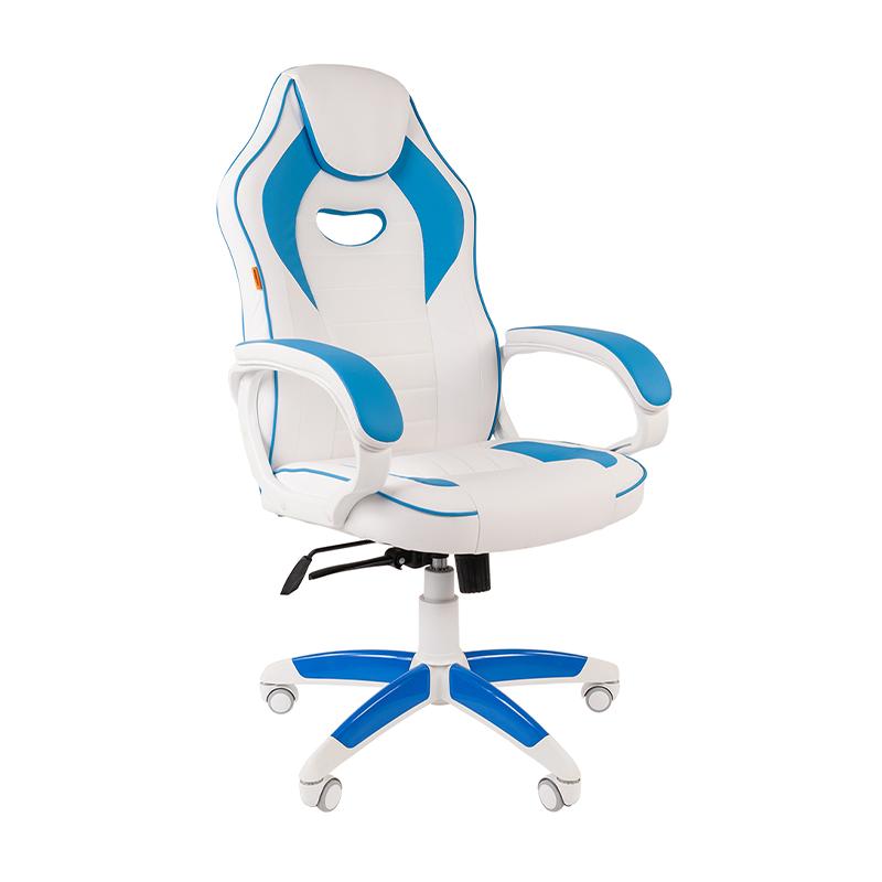 Кресло игровое CHAIRMAN GAME 16 белый/голубой фото