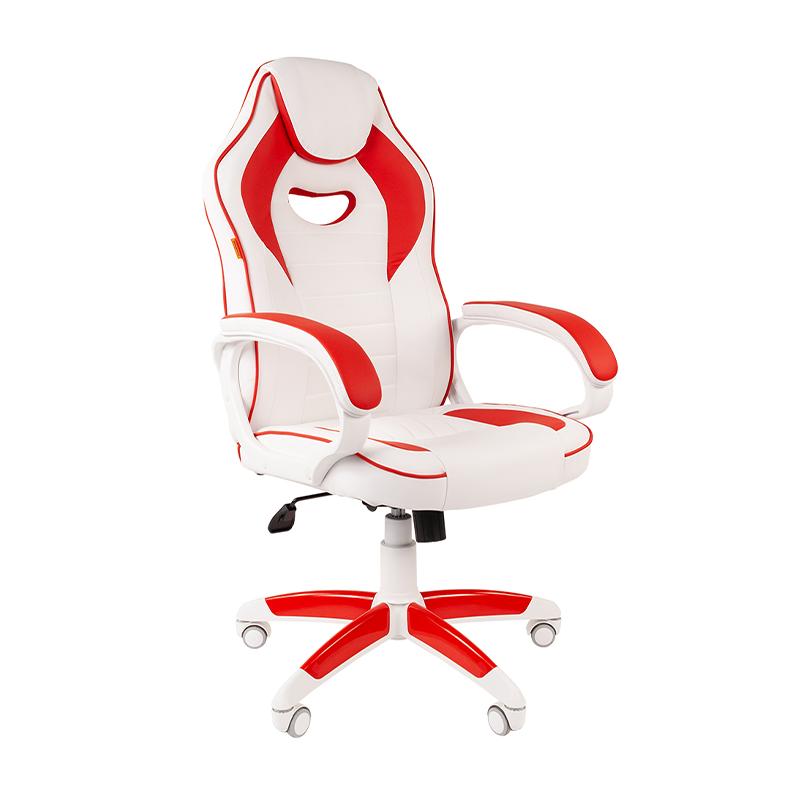Кресло игровое CHAIRMAN GAME 16 белый/красный фото