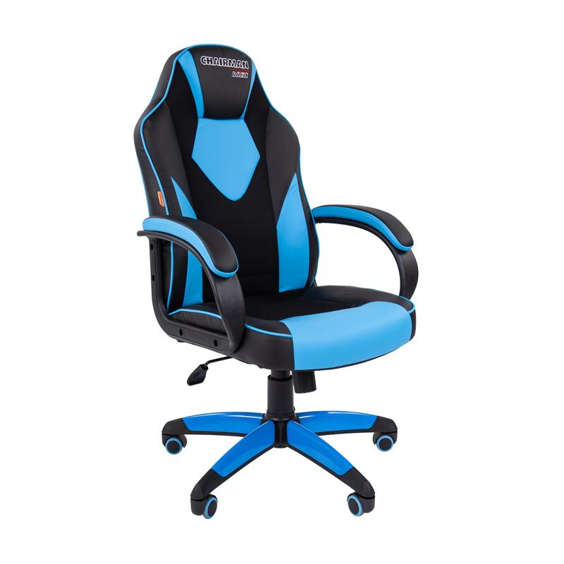 Кресло игровое CHAIRMAN GAME 17 черный/голубой фото