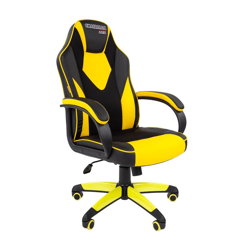 Кресло игровое CHAIRMAN GAME 17 черный/желтый фото