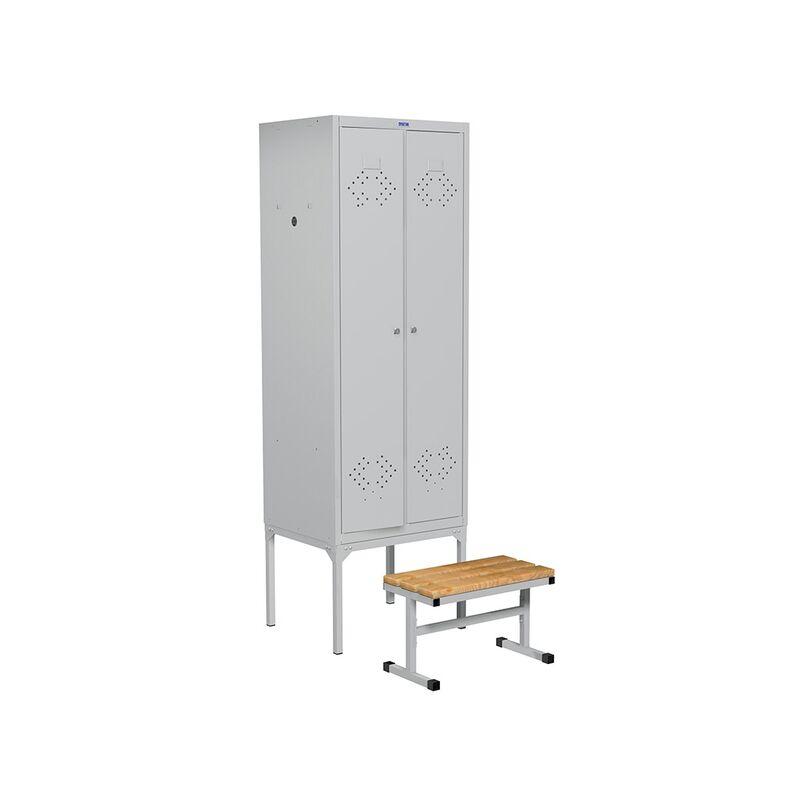 Шкаф металлический на подставке с выдвижной скамьей LS-21-60 фото
